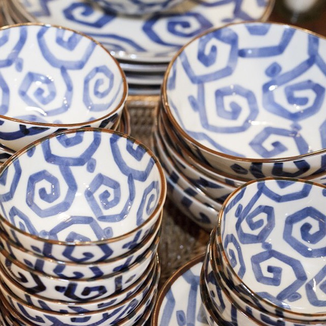 Rooms & Gardens Blue and White Bowls