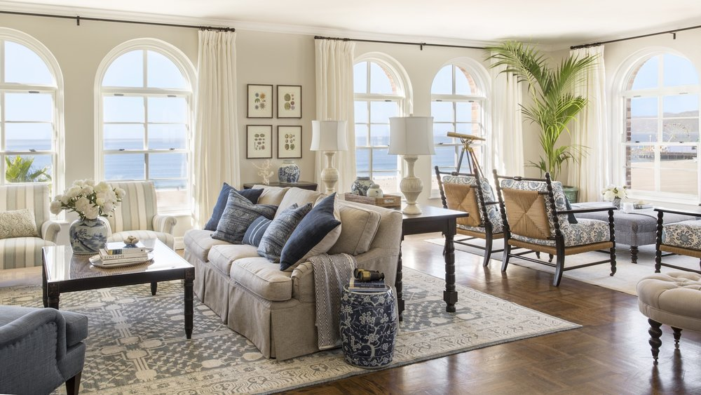 Coastal room featuring the Cambridge Sofa from Rooms & Gardens