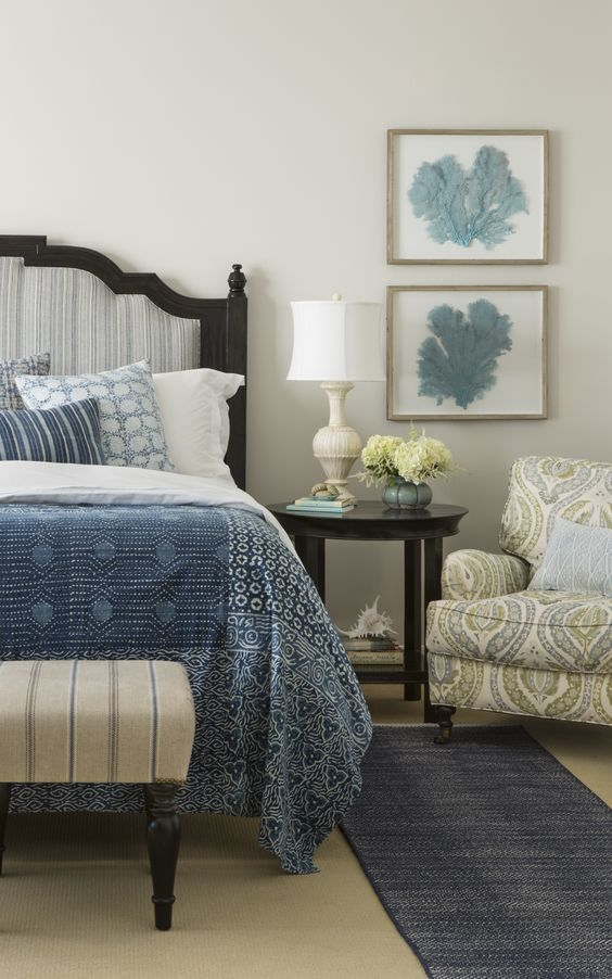 Photo of decorated bedroom featuring the Greenwich Upholstered bed from Rooms & Gardens