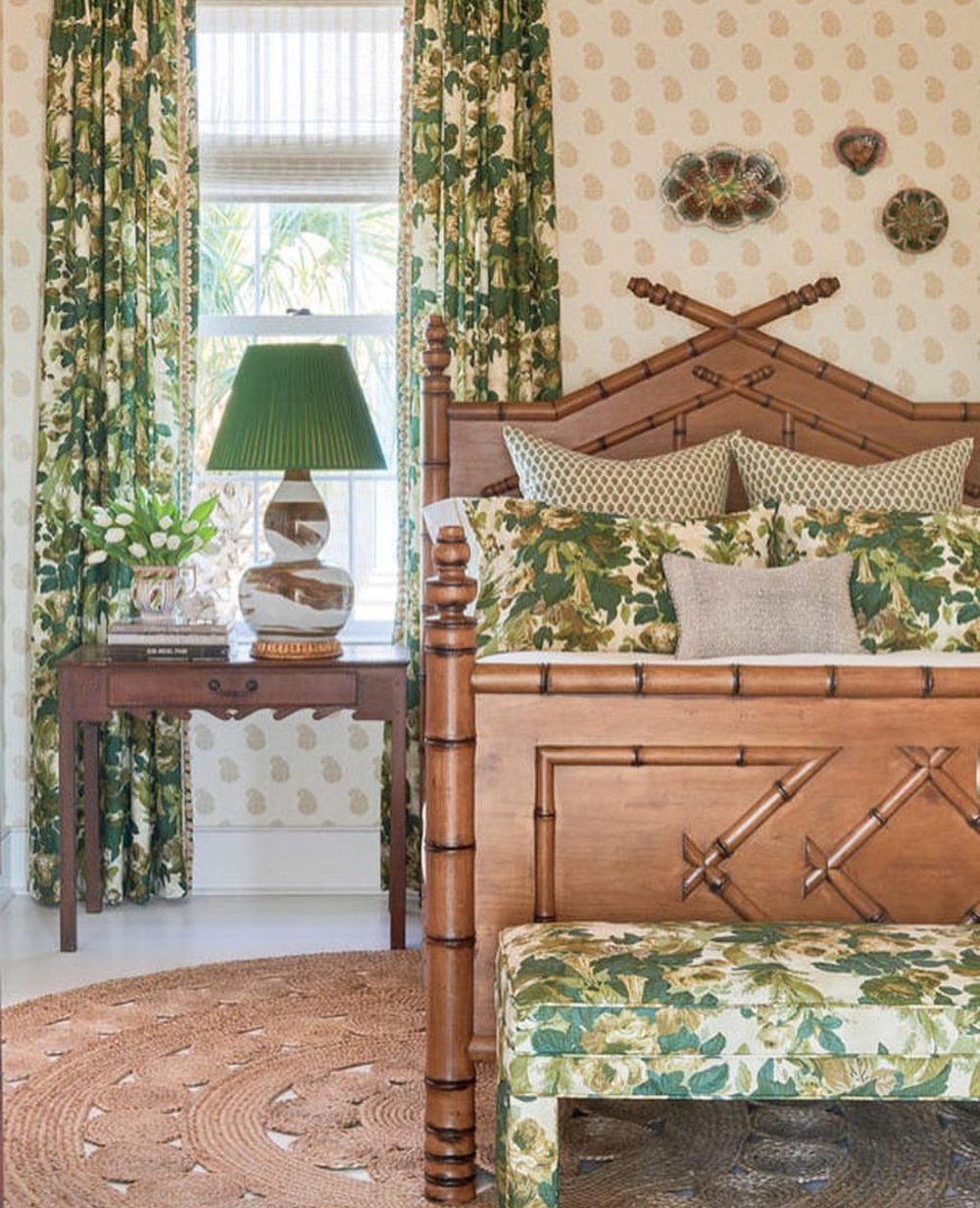Coastal bedroom featuring the Faux Bamboo bed from Rooms & Gardens
