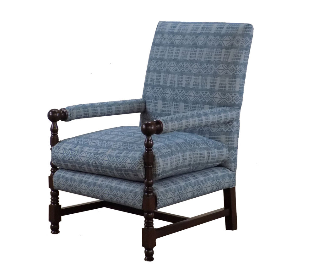 Napa chair with custom blue fabric