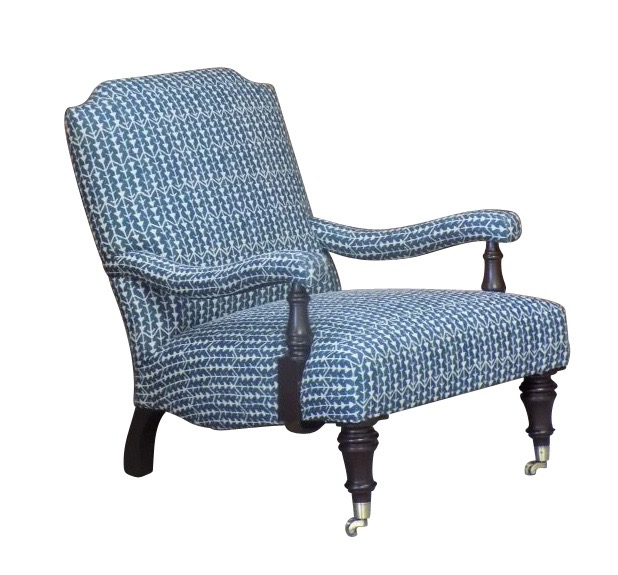 Sag Harbor chair with custom blue and white fabric