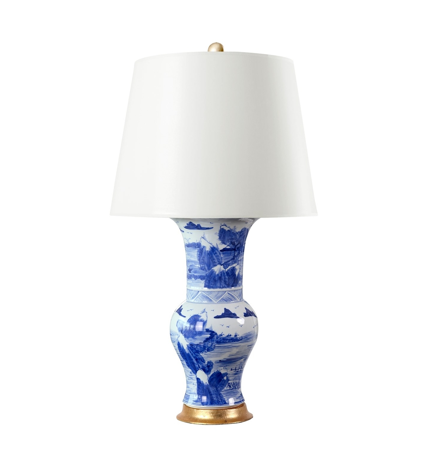 Rooms Gardens Blue White Hand Painted Porcelain Lamp