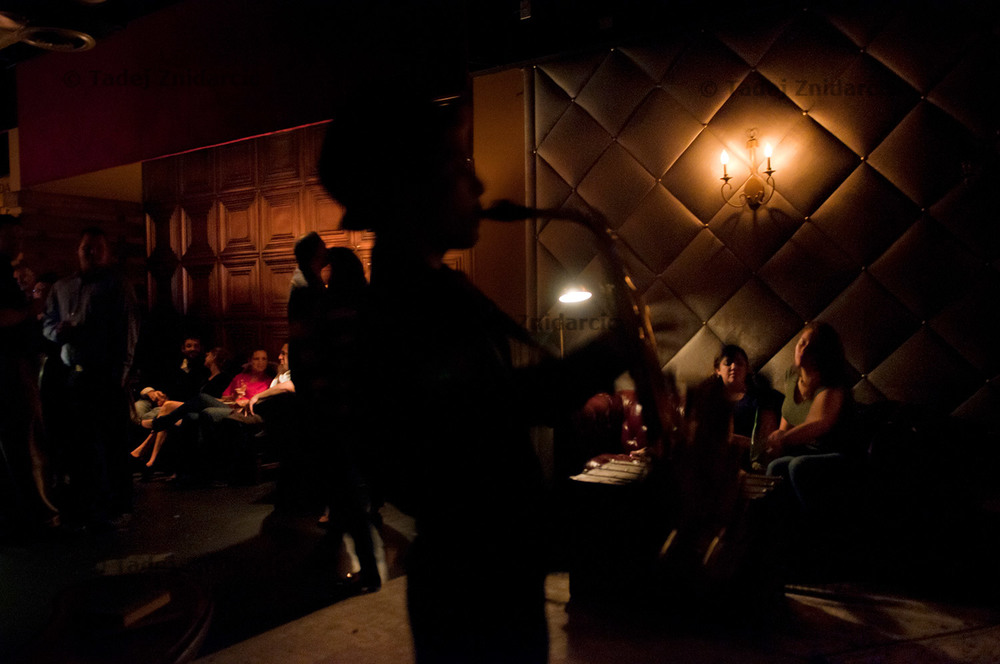 Josh Jongleur regularly plays saxophone in P's & Q's Auto Body.