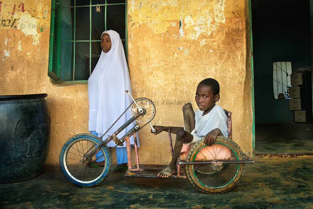 Boy an girl with polio at their primary school in Kano, Nigeria.