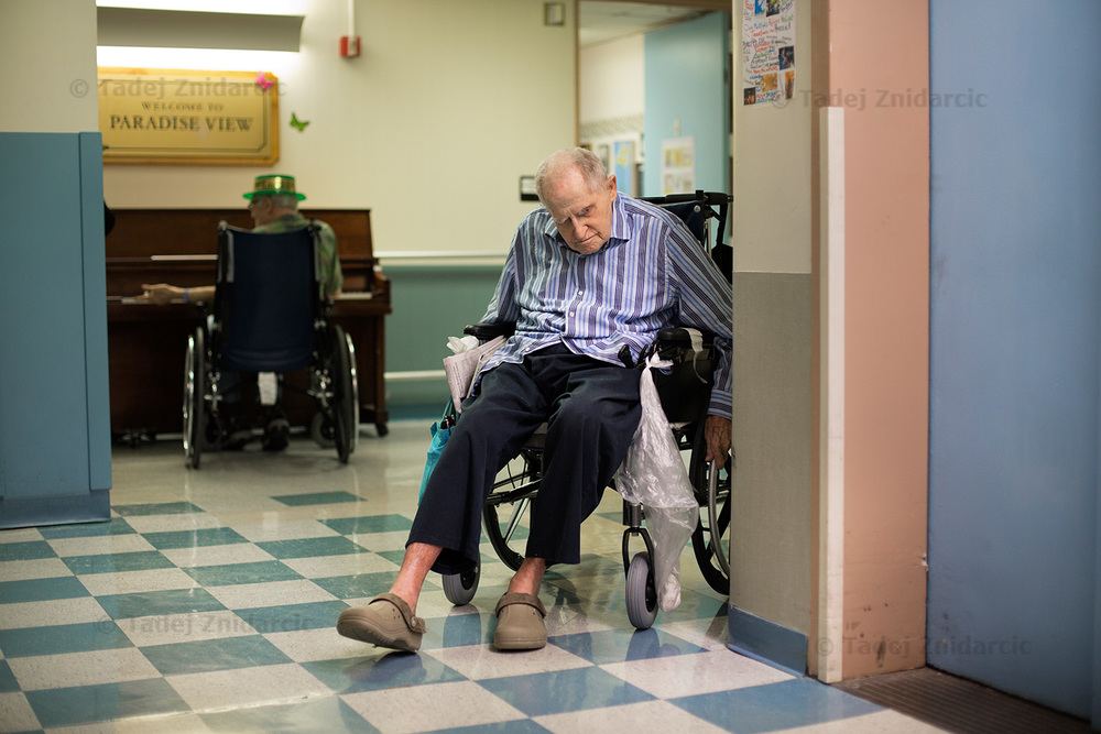 Barry spends most of the time inside the nursing home attending various activities organized for the residents.