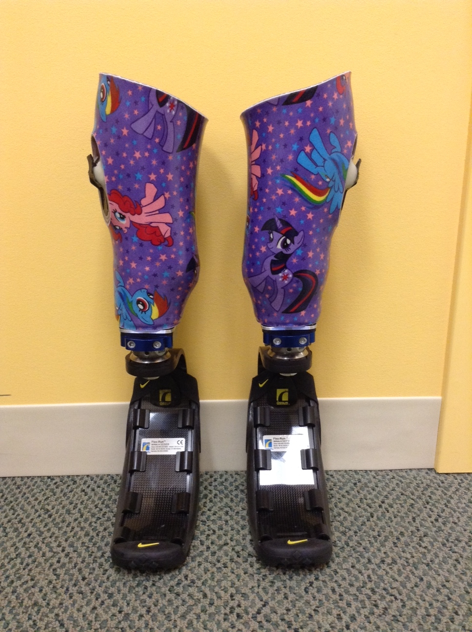 Pediatric running prostheses.