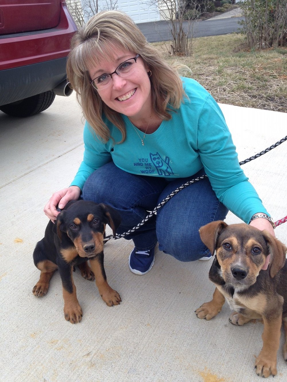 Kristin with a family member's rescue dogs.