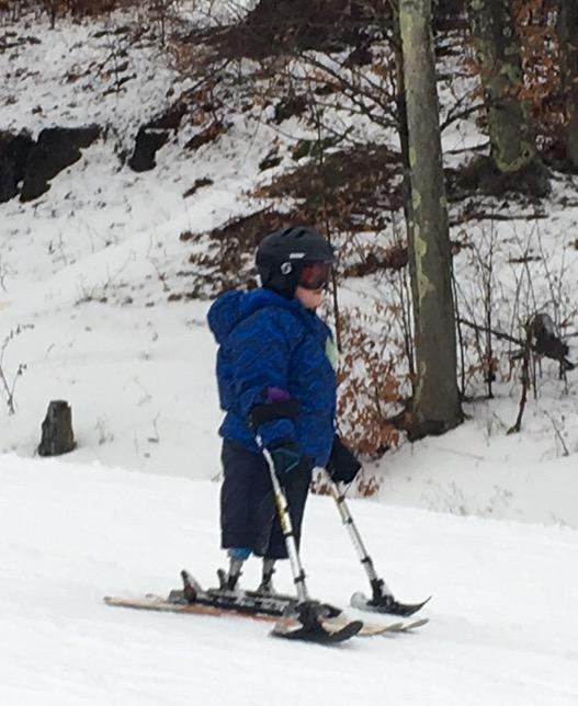 Eric Flynn using his skis last year.