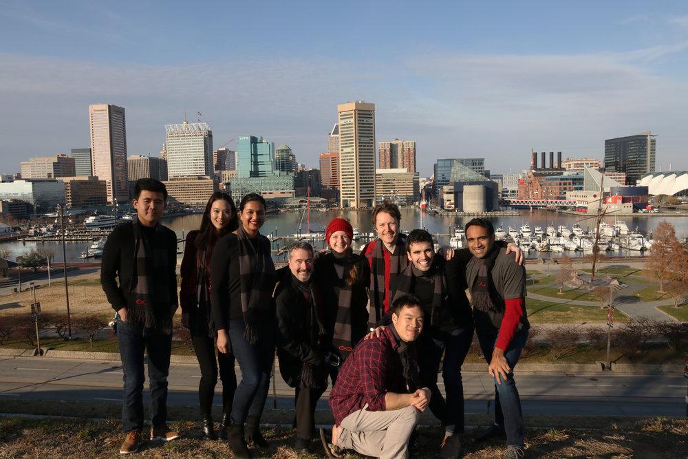 The IBT team taking a break at Baltimore's Inner Harbor.
