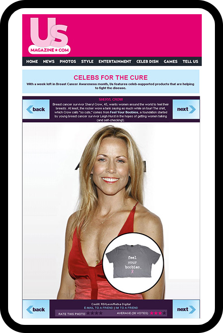 T-shirt featured with Sheryl Crow in US Weekly