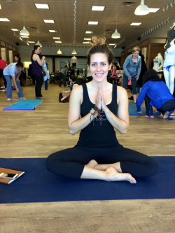 Jessica Bell hosting our first Yoga for Boobies in May 2015