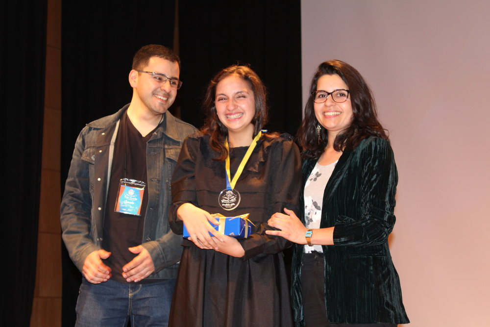 """Norma Herrera ganó premio a Actriz Destacada por su interpretación de Marie Curie, """"Marie Curie, una mujer radiante"""" del Colegio Amanecer Coronel"""
