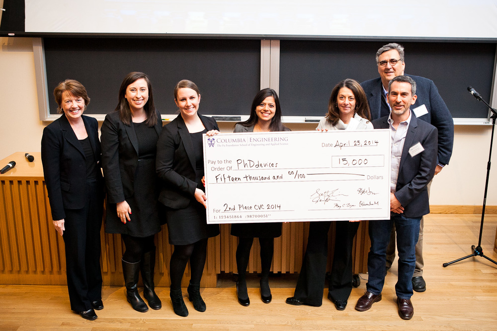 Student team from Q.E.D. Project wins $15,000 for their product and business plan at the Columbia Venture Competition in April 2014.