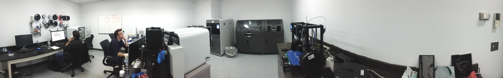 Design and Fabrication Room has 2 high-powered PCs and 2 iMac 5K workstations for running CAD/CAM software such as Solidworks for 3D design of models, the first step towards prototyping a device. Four 3D printers of differing technologies as well as a laser cutter provide the ability to easily fabricate models and functional parts for a wide range of applications.