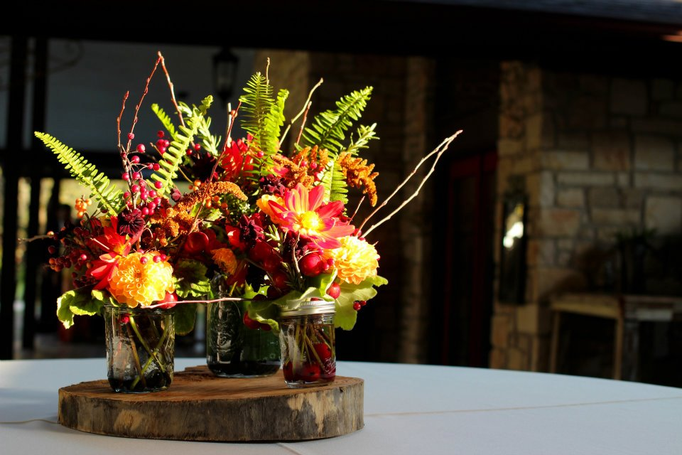 Table centerpieces - autumnal and woodsy - create that warm, inviting feel