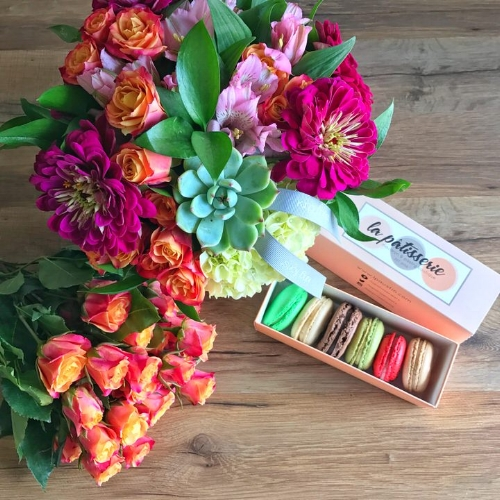 Austin texas flower delivery summer medley arrangement pictured with optional la patisserie macarons king florist mightylinksfo