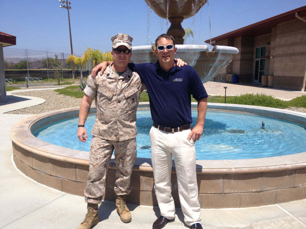 REIG' very own spokesperson meets with Gunnery Sergeant Eagle of the Wounded Warrior Battalion to discuss Operation Renovation.