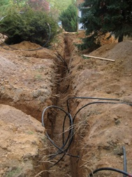 Geo-thermal well field trenches.
