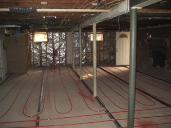 Radiant floor tubing in basement.