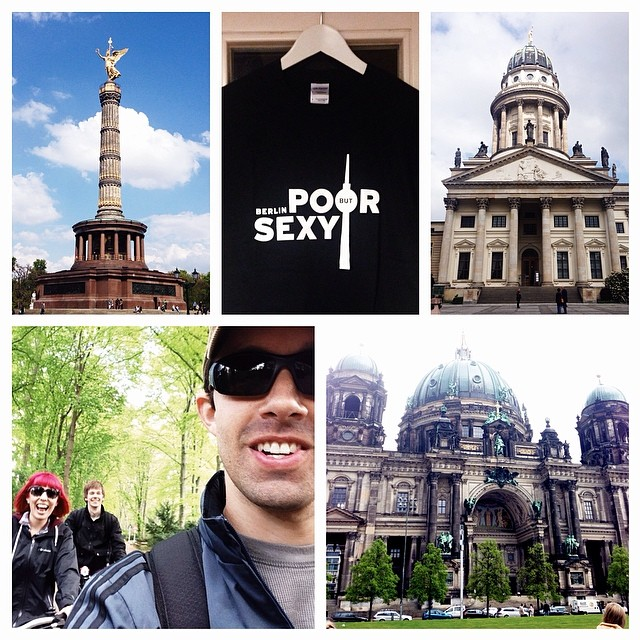 Clockwise from top left: Berlin Victory Column; third souvenir (Berlin's motto); French Cathedral; Berlin Cathedral; biking and photobombing