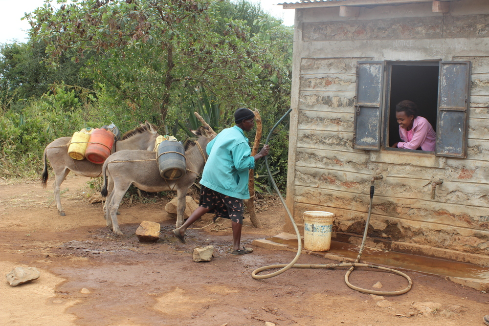 Villagers now go to the bore hole for clean water.