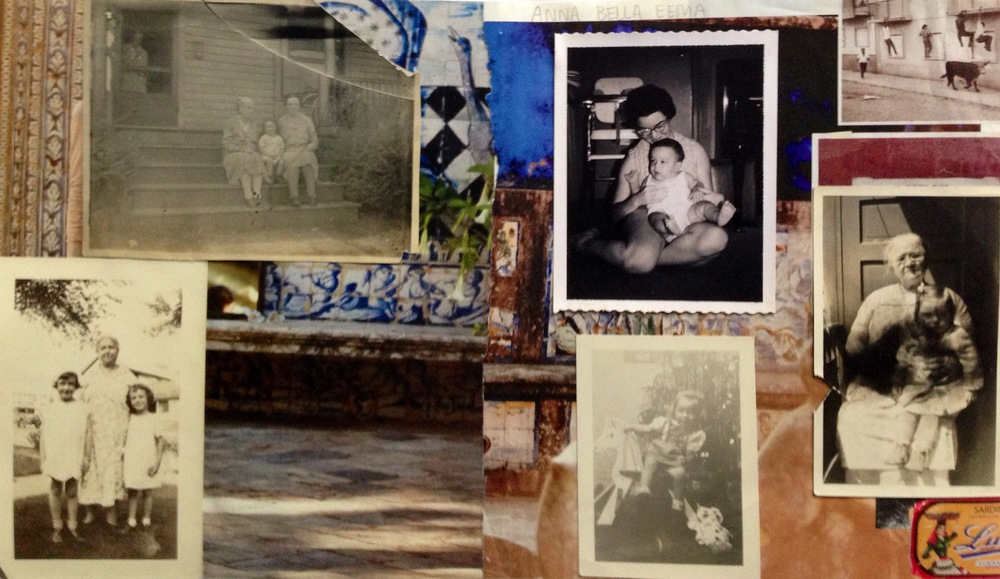Mood board/inspiration for Anna Bella Eema (Vintage photos on magazine tears.)