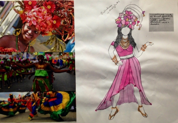 Erzulie research photos and costume rendering. (Watercolor on photocopy of original sketch.)