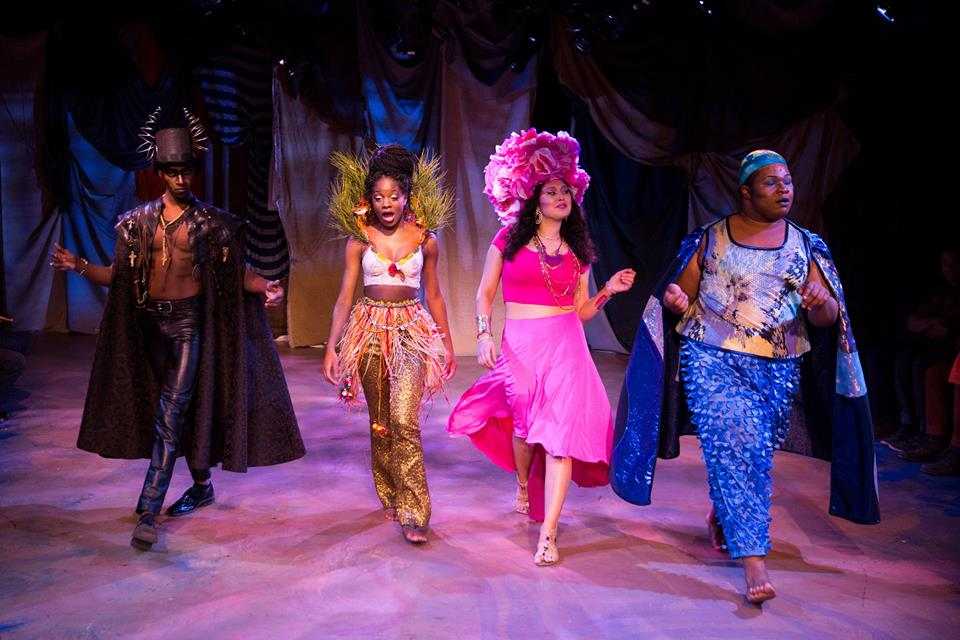 Erzulie (2nd from right ) wearing custom built skirt, and Agwe (far right) wearing costume made from recycled fabric and shower curtains/Photo by Matthew Murphy