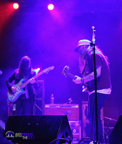 Mihali Savoulidis with Jaden Carlson onstage at the Ogden Theatre back in March. Photo by Benna Coben