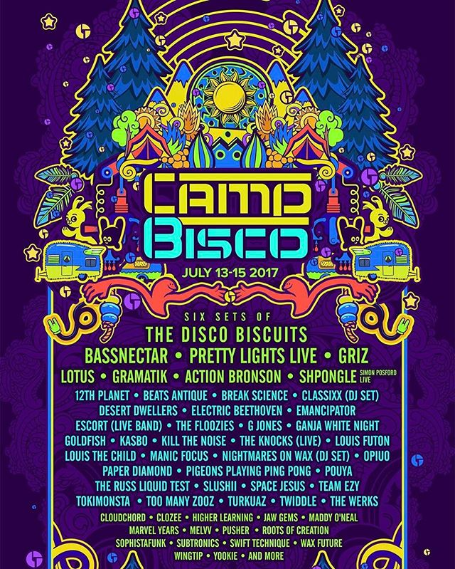 WOW!!! The @campbisco lineup this year is a knock out! Who are you most excited to see?  #campbisco #bassnectar #prettylights #plpix #discobiscuits #griz #lotus #gramatik #musicfestival #edm #jamband #cb2017 #actionbronson #dance #party #lineup