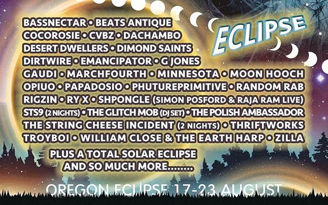 We can't wait for Global Eclipse Gathering! It will without a doubt be the event of a lifetime, and the music lineup isn't too bad either ;) tickets go on sale tomorrow! They're expected to go FAST so be ready if you're trying to buy one! 💞@globaleclipsegathering  #oregoneclipse #bassnectar #eclipse #gathering #musicfestival #sci #sts9 #troyboi #edm #music #art #randomrab #beatsantique #dance #solareclipse #lineup #moonhooch #gjones