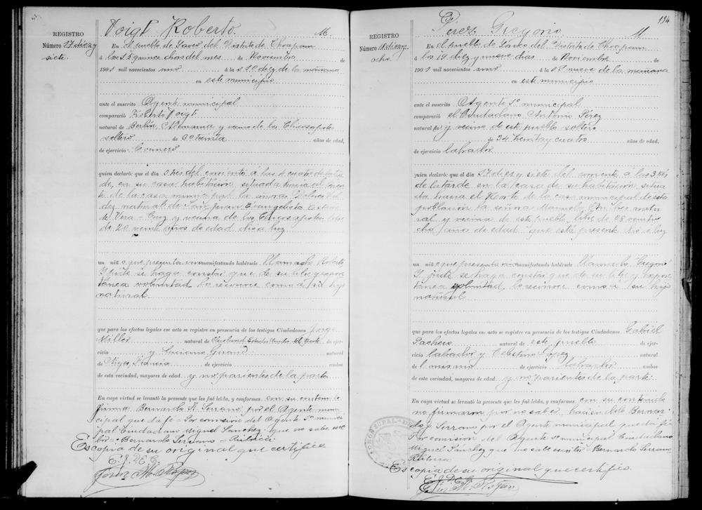 Civil Birth Registration, Oaxaca, México, 1901