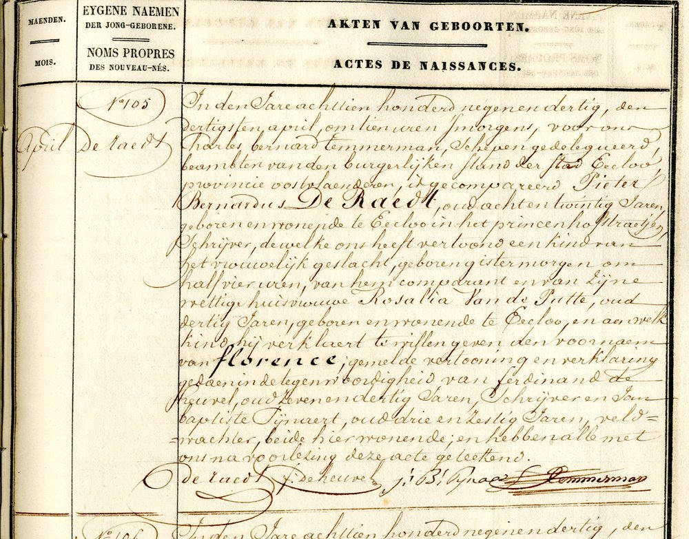 Civil Birth Registration, Eeklo, Oost-Vlaanderen, Belgium, 1839