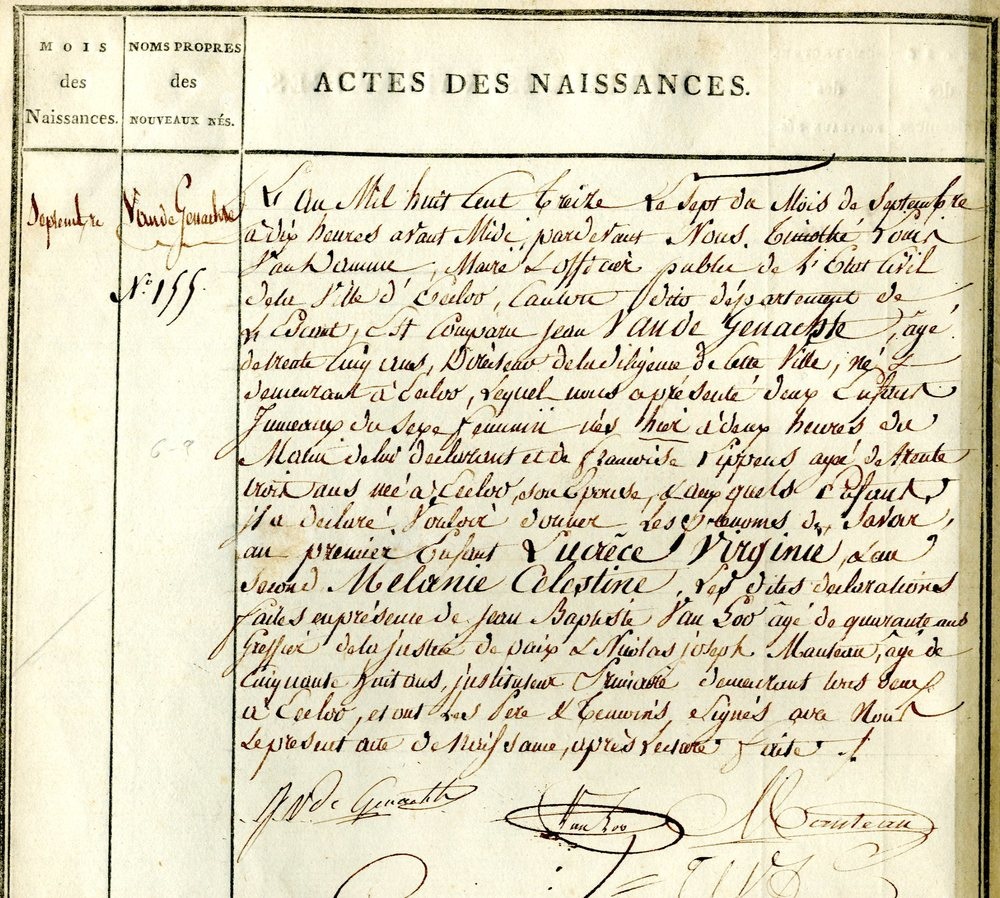 Civil Birth Registration, Eeklo, Oost-Vlaanderen, Belgium, 1813
