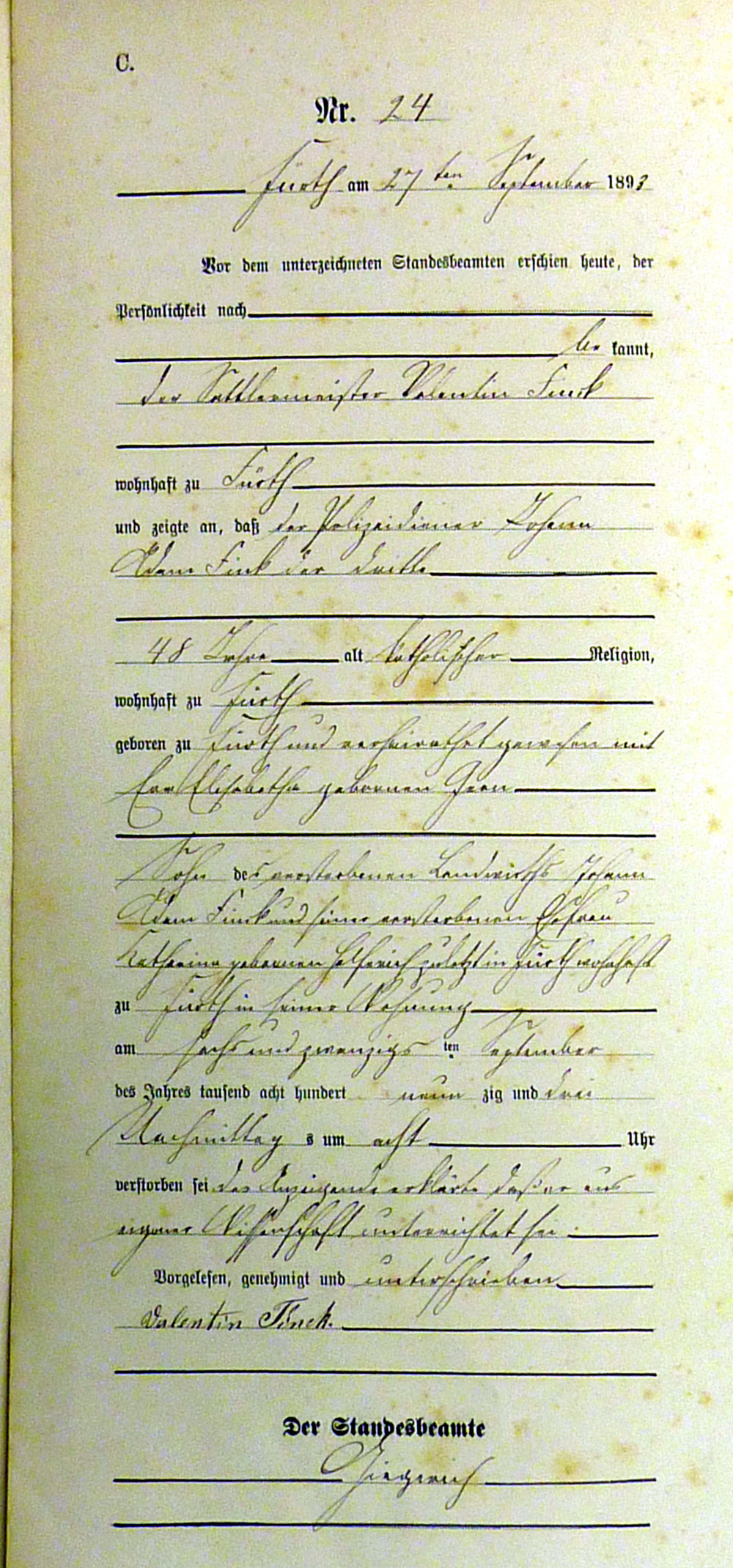 Civil Death Registration, Fürth, Darmstadt, Hessen, Germany, 1893
