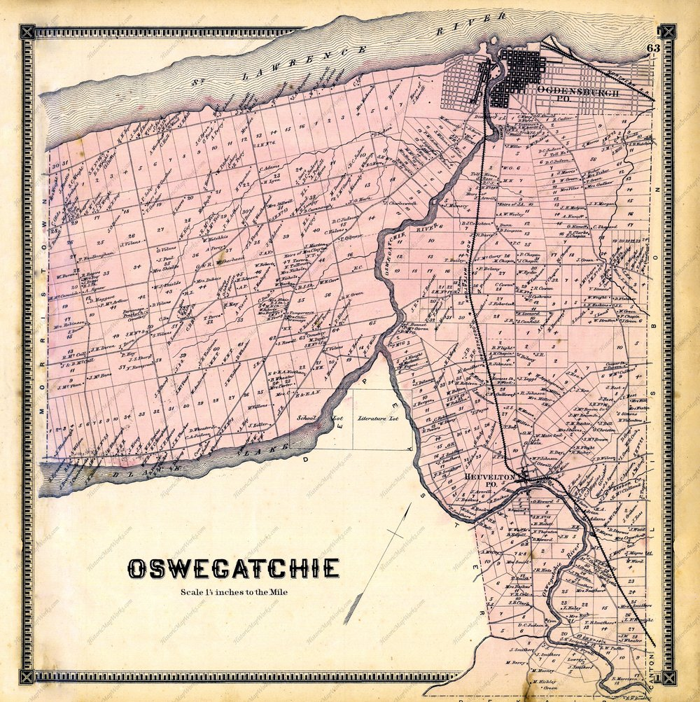 Land-owner map, Oswegatchie, Saint Lawrence, New York, 1865