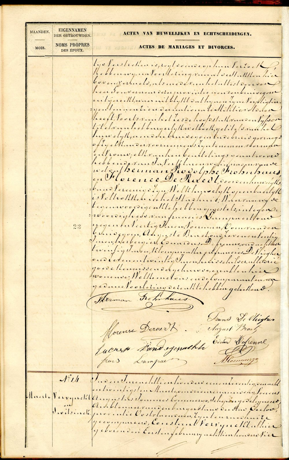 Civil Marriage Registration, Eeklo, Oost-Vlaanderen, Belgium, 1871