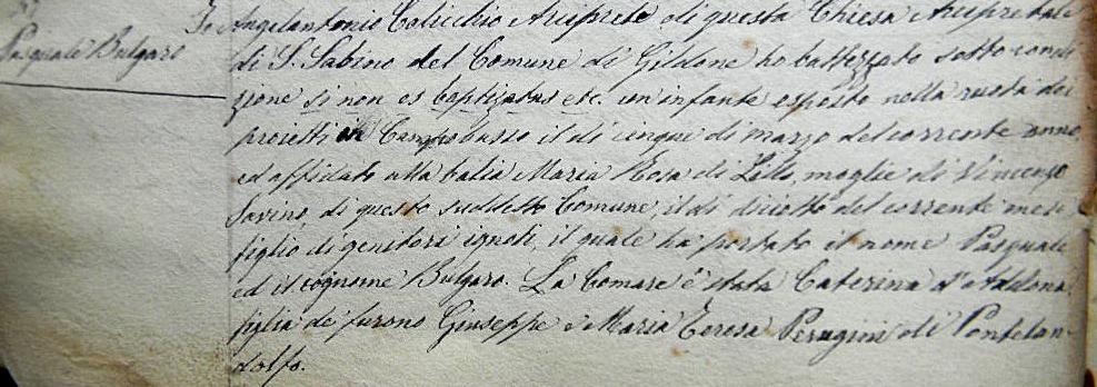 Catholic Baptismal Certificate, Parish of S. Sabino in Gildone, Campobasso, Molise, Italia, 1883
