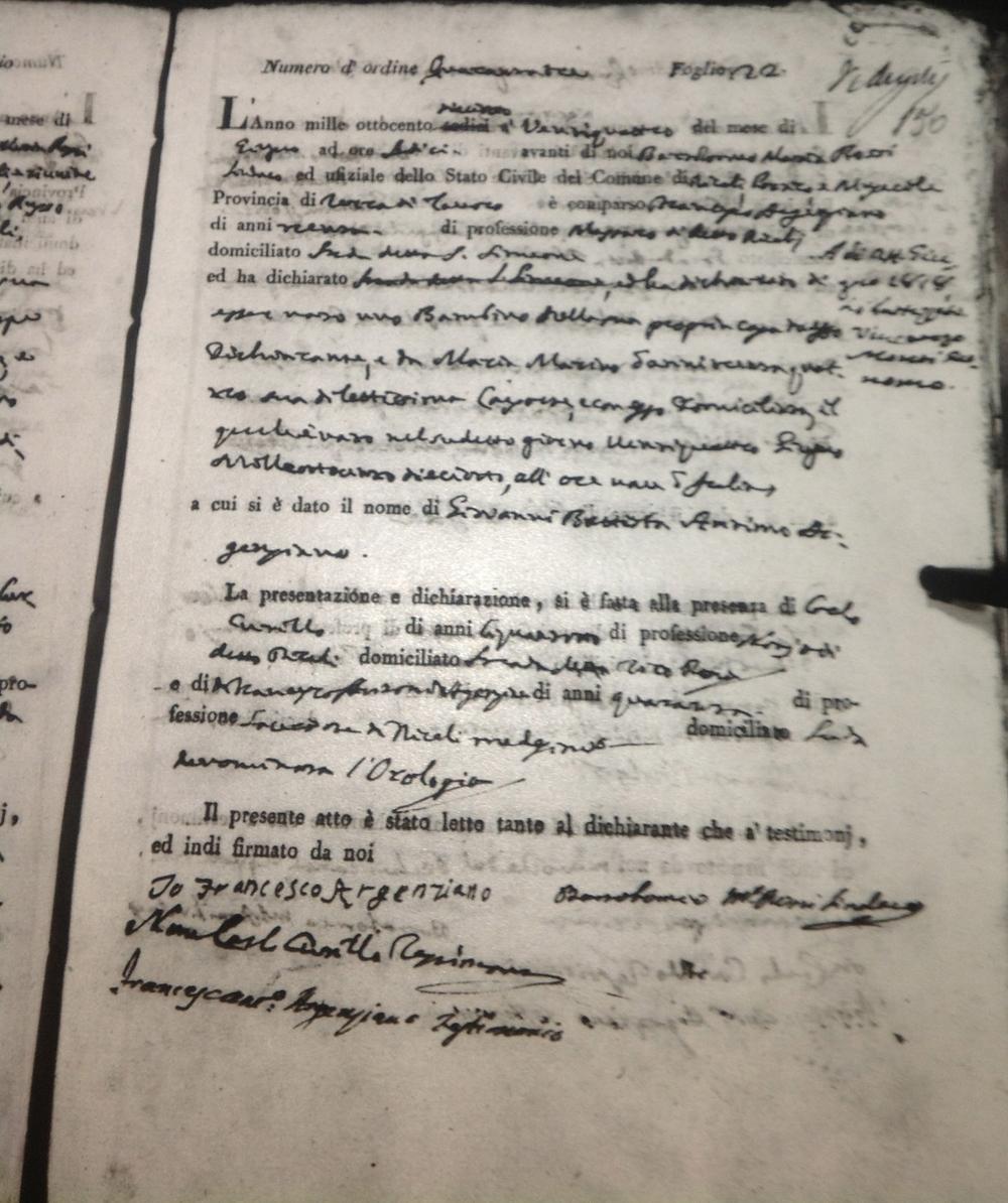 Civil Birth Registration, Recale, Kingdom of Naples, 1818