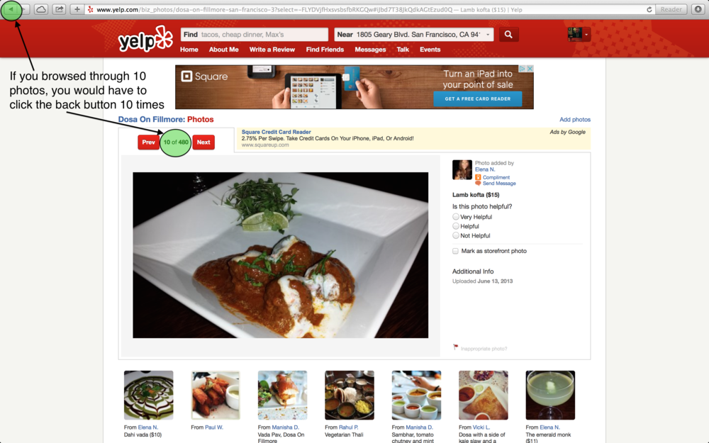 Yelp's current photo interface