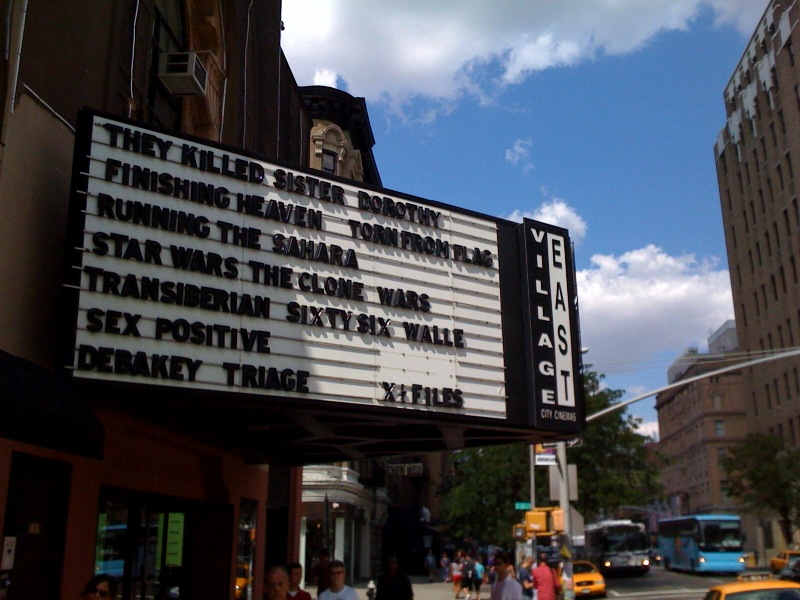 FINISHING HEAVEN    premiered theatrically at the Village East Cinema in downtown Manhattan, NYC.