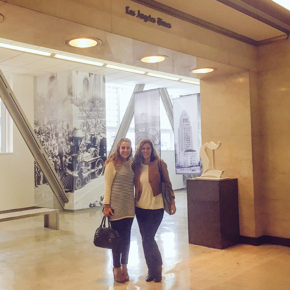 Danielle scouts event locations at the LA Times with Tenille Metti, Assistant Communications Manager at the Hilton Foundation.