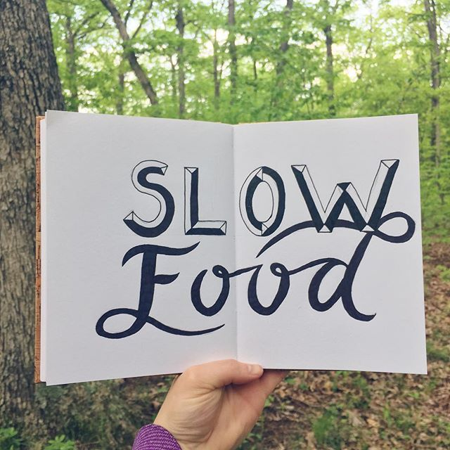 7/100 Slow Food is a movement that's all about promoting food that is good for the people who eat it and the people who grow it. It's about fresh, local, seasonal, and sustainable food. I ate at a wonderful slow food restaurant this weekend @hornoplenty!  #100daysofwellnesslettering #the100dayproject . . . . . . #handdrawntype #handdrawnletters #calligritype #slowroastedco #artoftype #designspiration #everydaylettering #thedailytype #thedesigntip #typegang #typespire #typemadness #thefinelab #freshtaurant #goodtype  #dslettering #typism #farmtotable #welovetype #typematters #typeeverything #typographysketchbook #handletterer  #customlettering #slowfoodusa #organicrestaurant