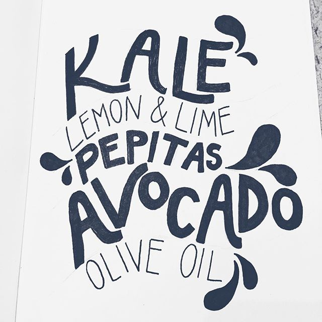 9/100 Recipe for one of my favorite quick salads: massage olive oil, lemon and/or lime juice into a bowl of kale. Sprinkle pepitas and scoop out some avocado on top. Enjoy!  #100daysofwellnesslettering #the100dayproject . . . . . . #handdrawntype #handdrawnletters #calligritype #slowroastedco #artoftype #designspiration #everydaylettering #thedailytype #thedesigntip #typegang #typespire #typemadness #thefinelab #handletteredrecipes #goodtype  #healthcoach #typism #foodiegram #welovetype #typematters #typeeverything #typographysketchbook #handletterer  #customlettering