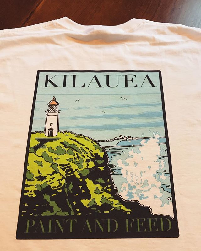 Excited to see graphic design by Cultivate artist @watermerlon on T'shirts this morning at Kilauea Paint and Feed! They have are stocked up in black and white- go check 'em out🎉💥 #tshirts #hawaii #kilauea #familybusiness  #ohana