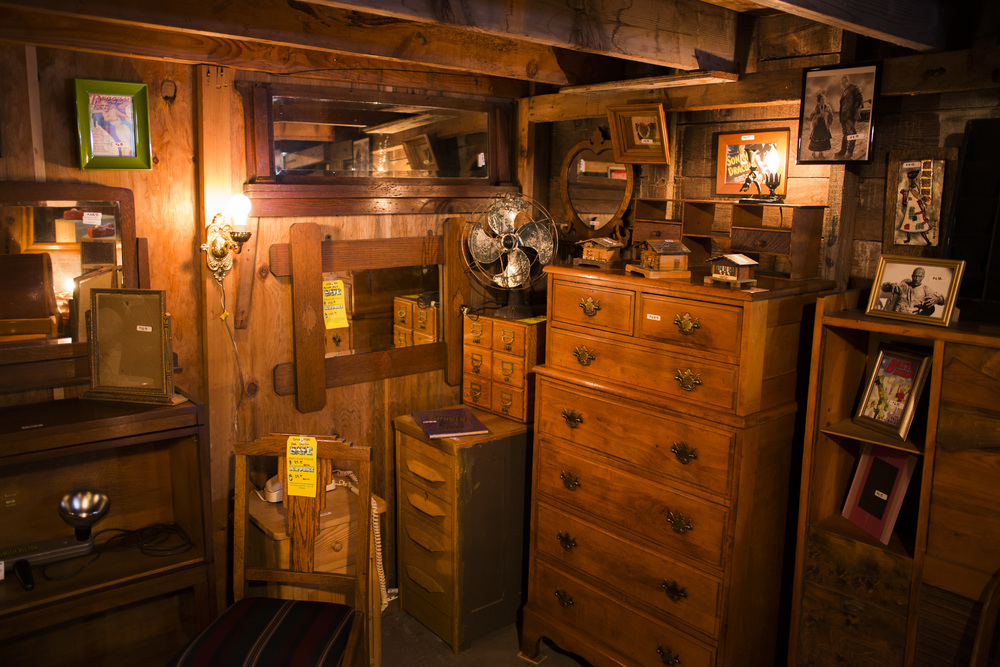 Interior of basement antique shop.