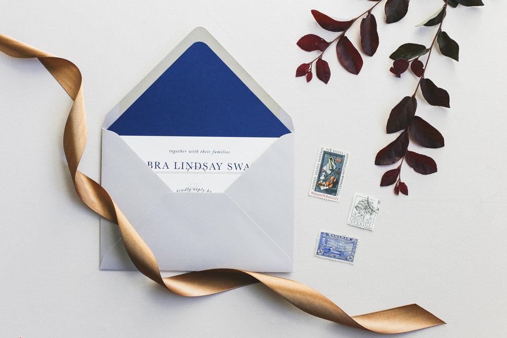 Blue, neutral, wedding invite