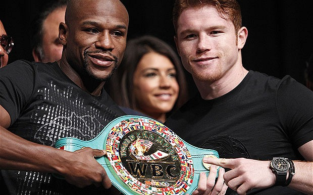 Floyd Mayweather and Saul 'Canelo' Alvarez before their September-2013 fight.