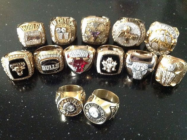 NBA Legendary Coach Phil Jackson's 13 Championship Rings - 11 as a Coach (6 with Chicago Bulls, 5 Los Angeles Lakers), and 2 as a Player (New York Knicks).  Source: Yahoo! Sports